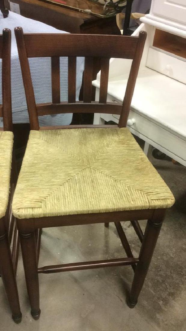 Set Three WalnutToned Wood Rush Seat Bar Stools - 4