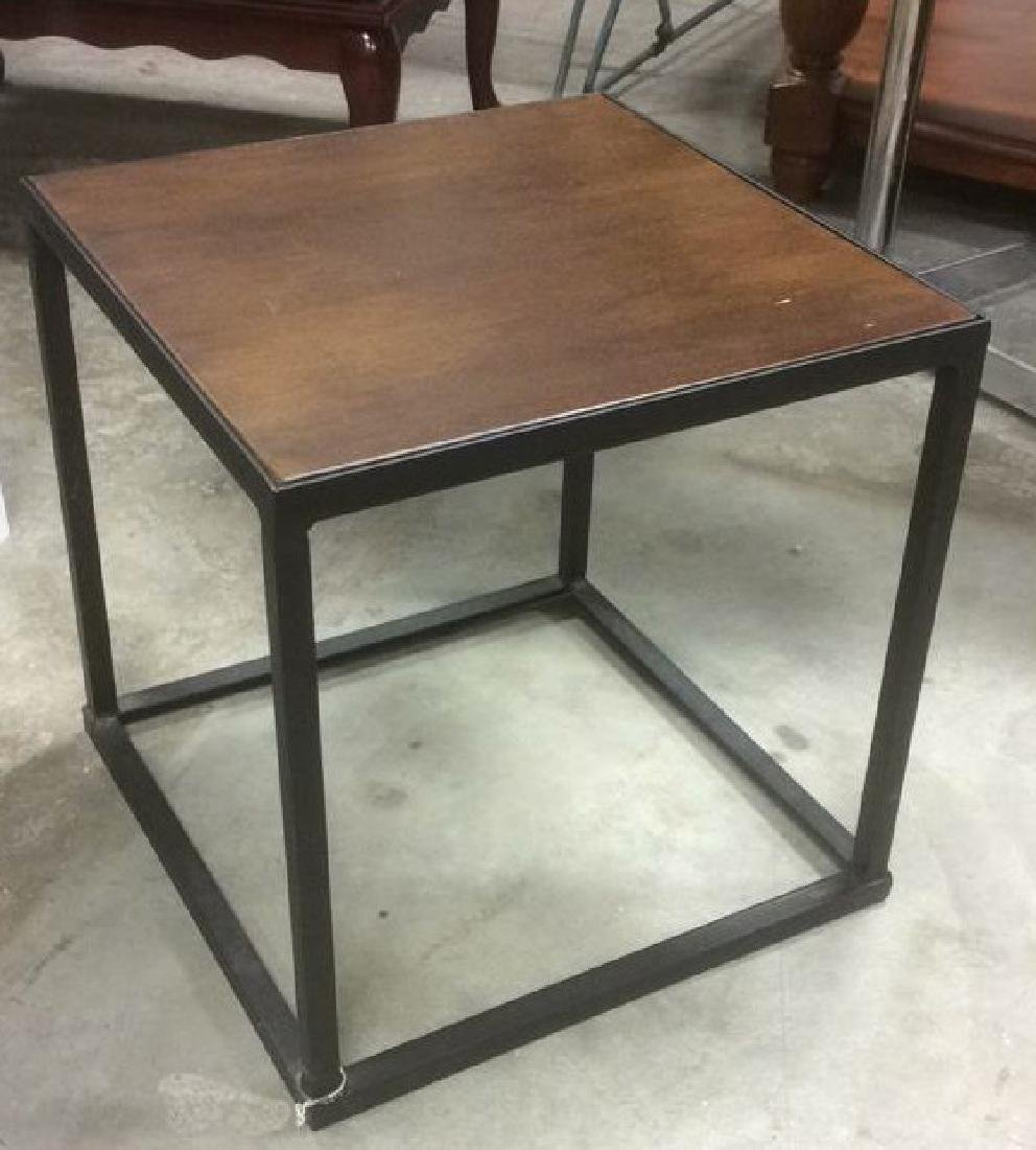 Mid Century Modern Iron Walnut Side Table