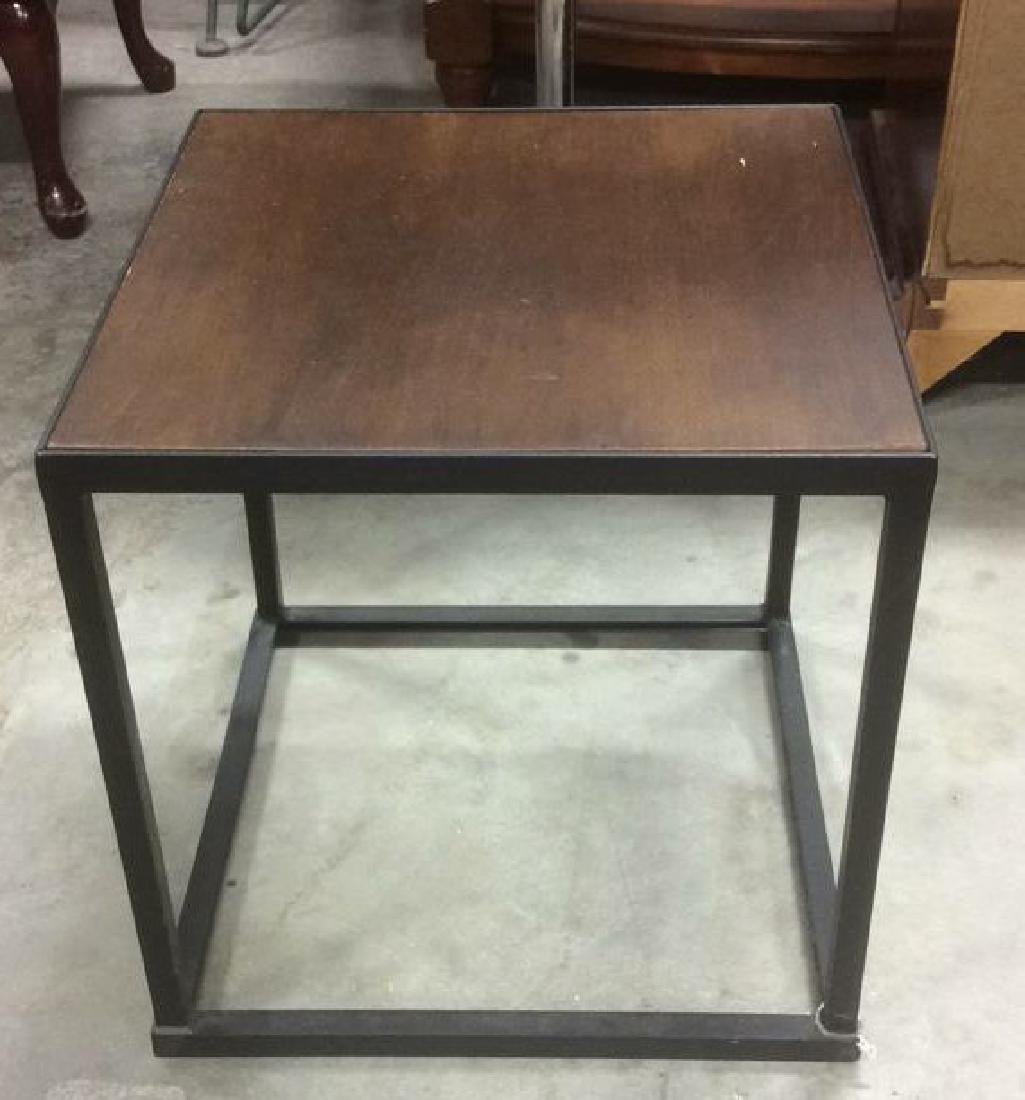 Mid Century Modern Iron Walnut Side Table - 2