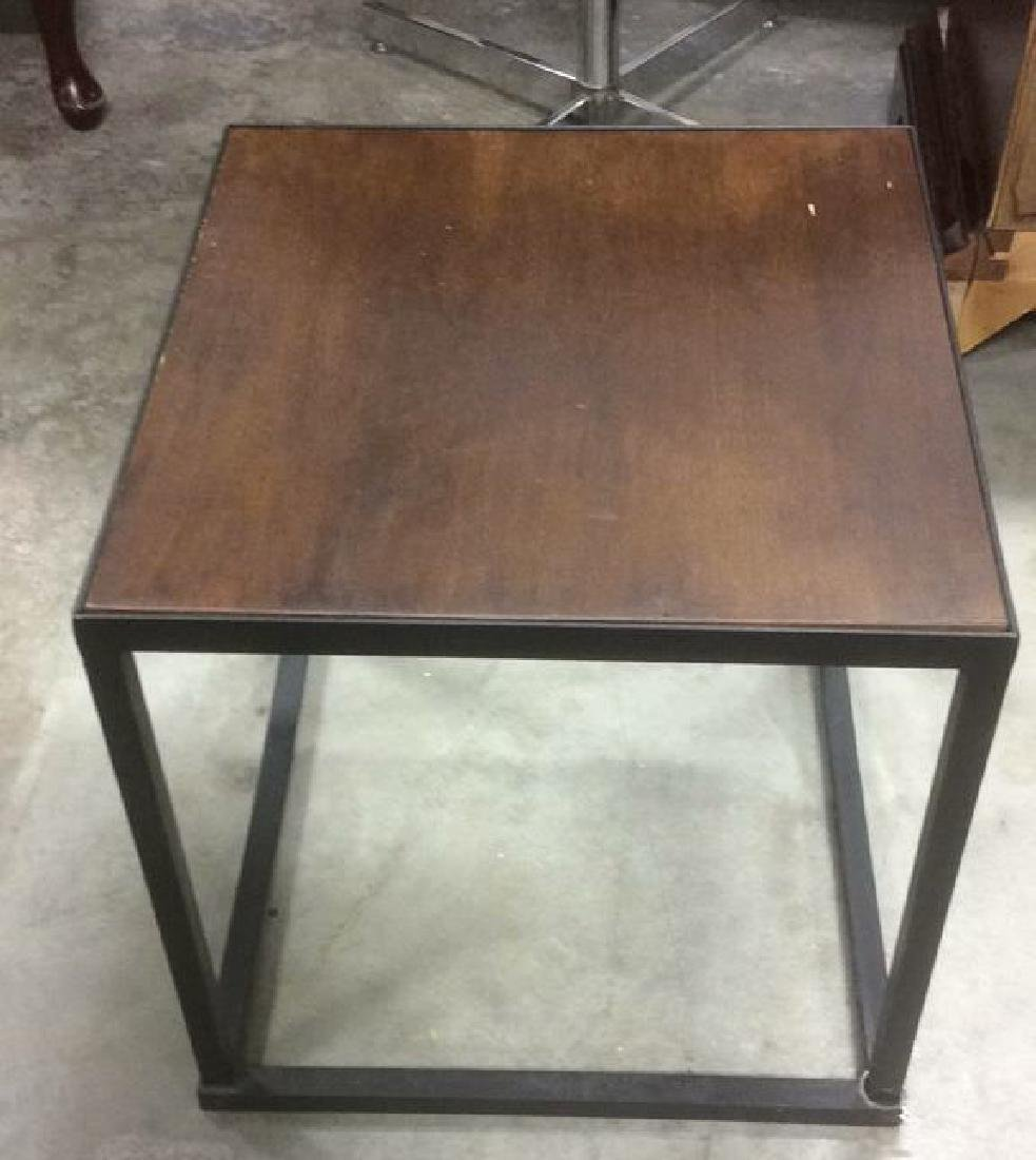 Mid Century Modern Iron Walnut Side Table - 3