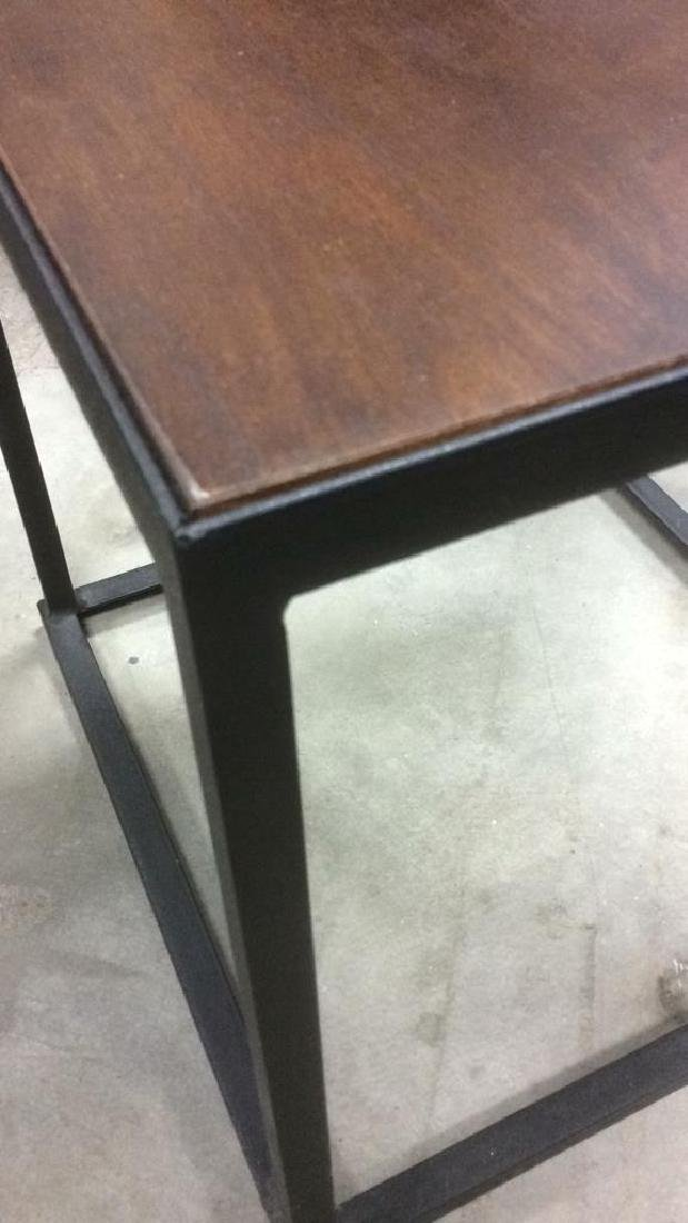 Mid Century Modern Iron Walnut Side Table - 4