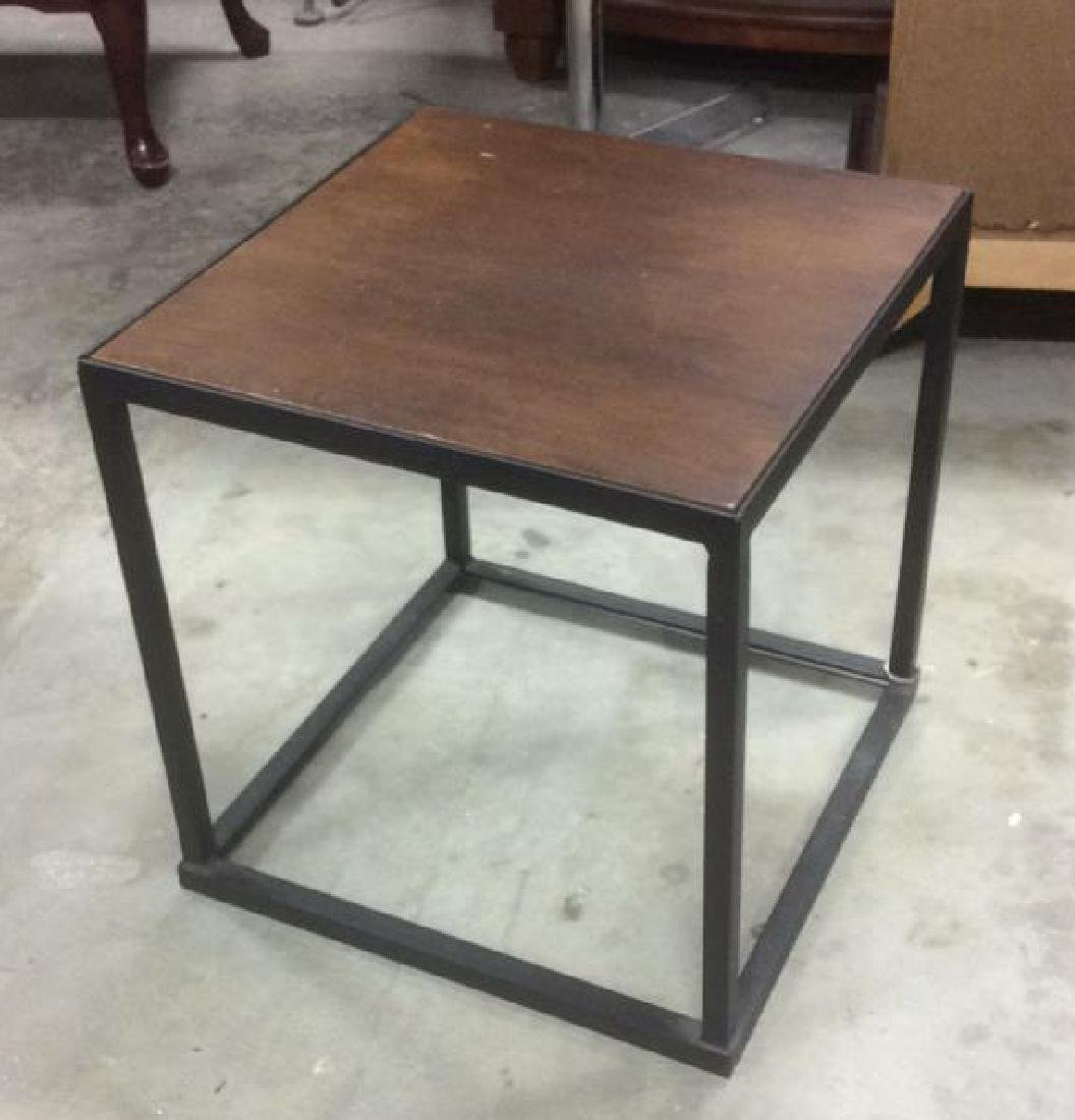 Mid Century Modern Iron Walnut Side Table - 5