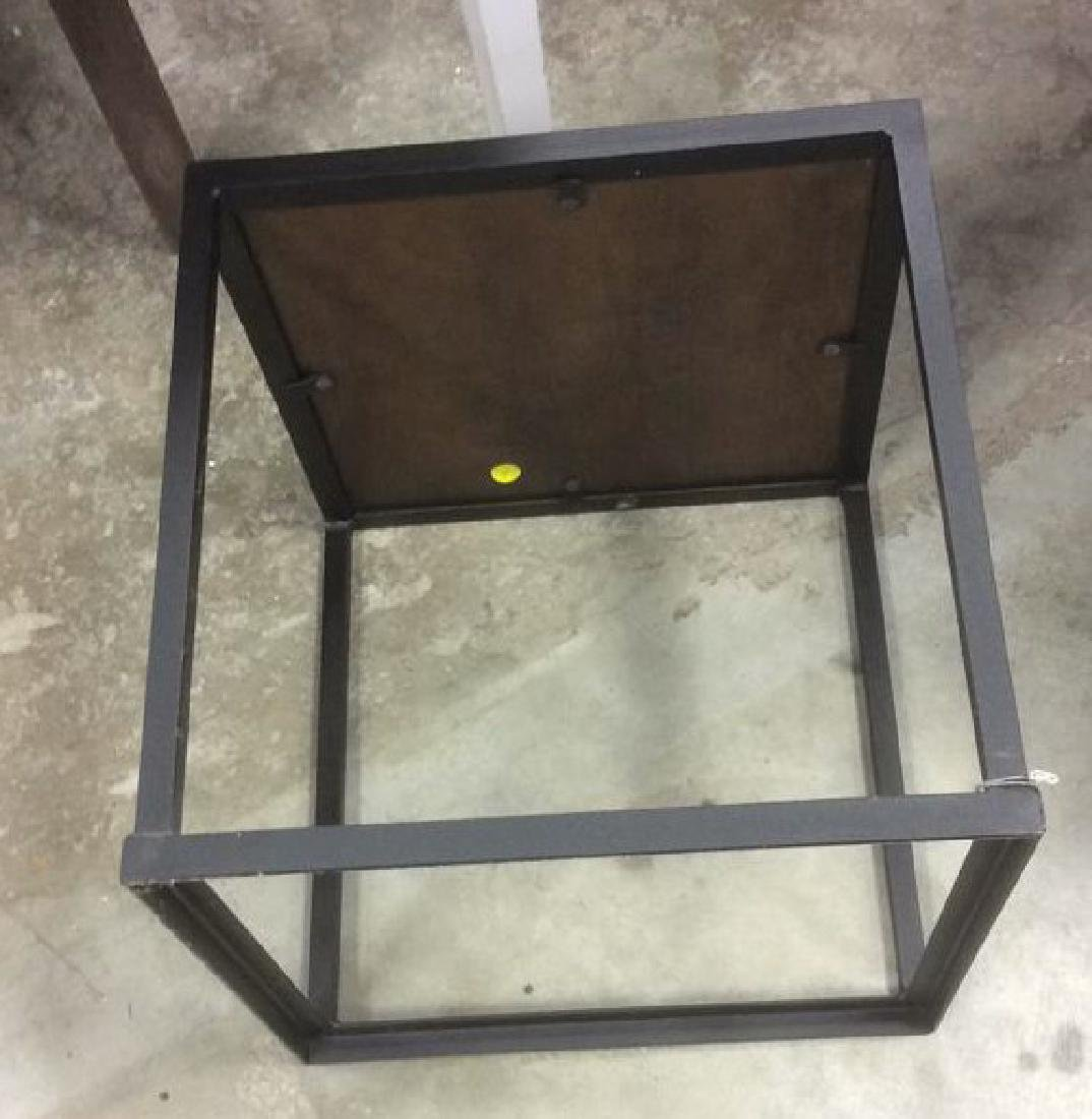 Mid Century Modern Iron Walnut Side Table - 7