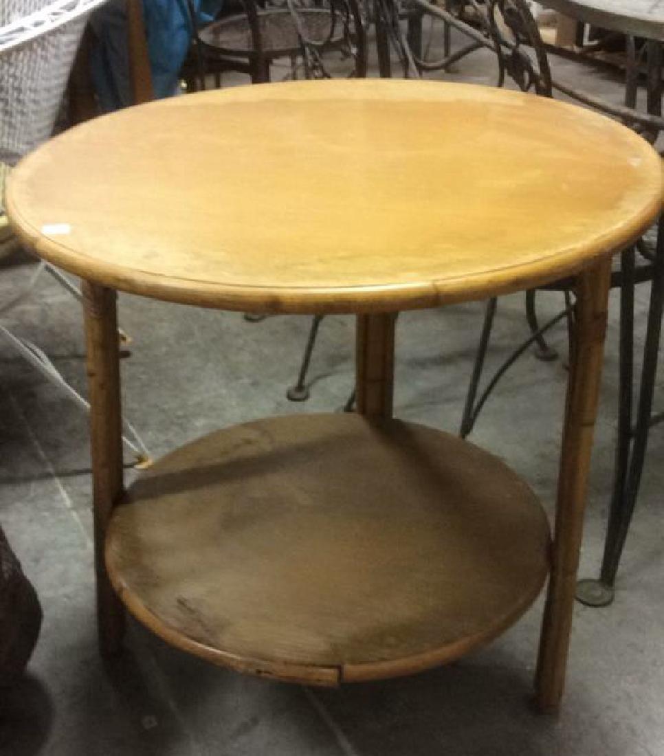 Vintage Bamboo Wood Circular Table