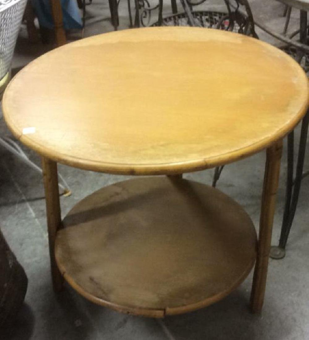 Vintage Bamboo Wood Circular Table - 2