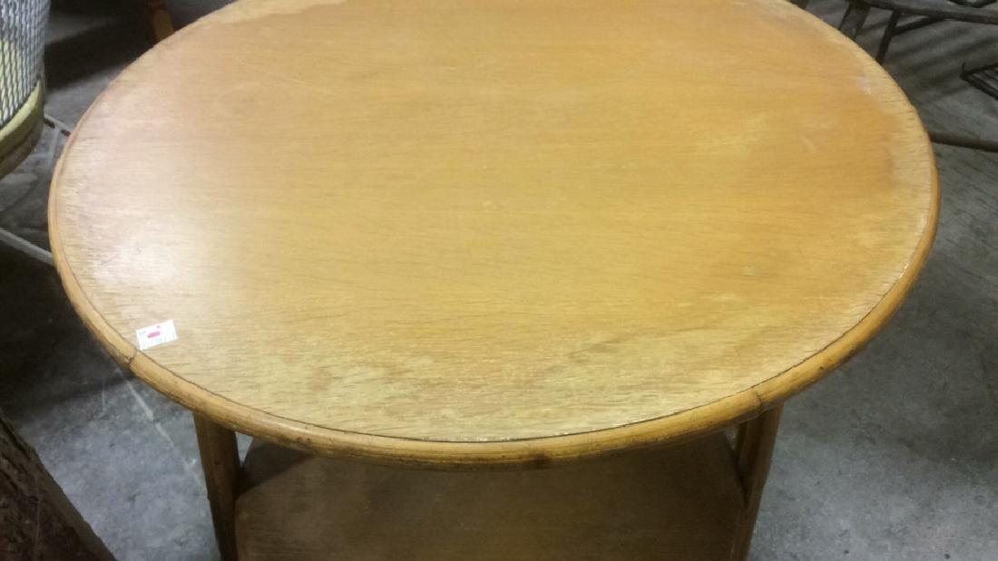 Vintage Bamboo Wood Circular Table - 3