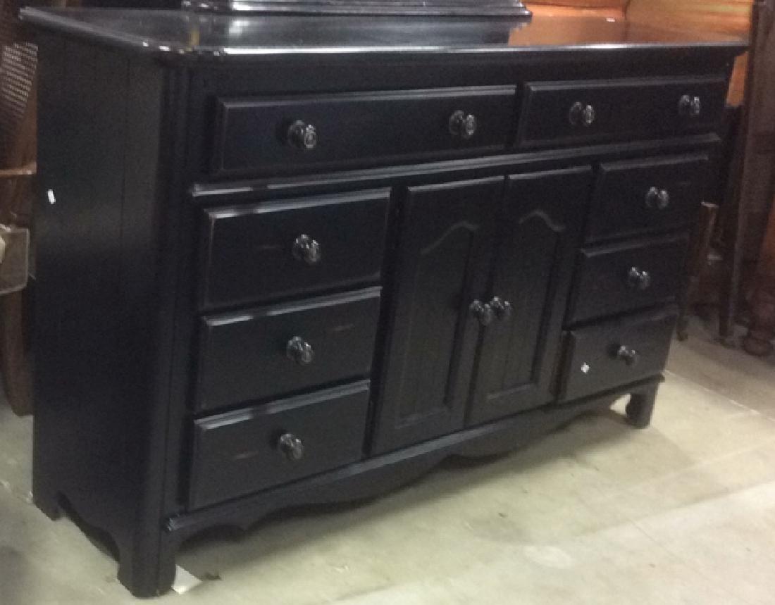 Black Painted Wood Dresser w Mirror