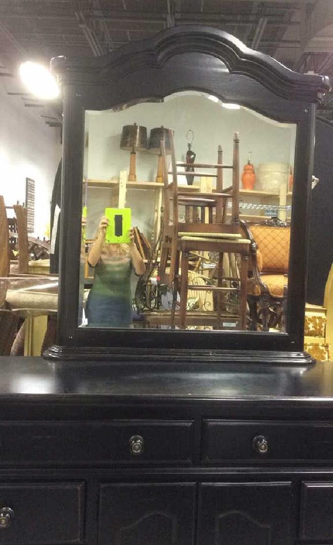 Black Painted Wood Dresser w Mirror - 4
