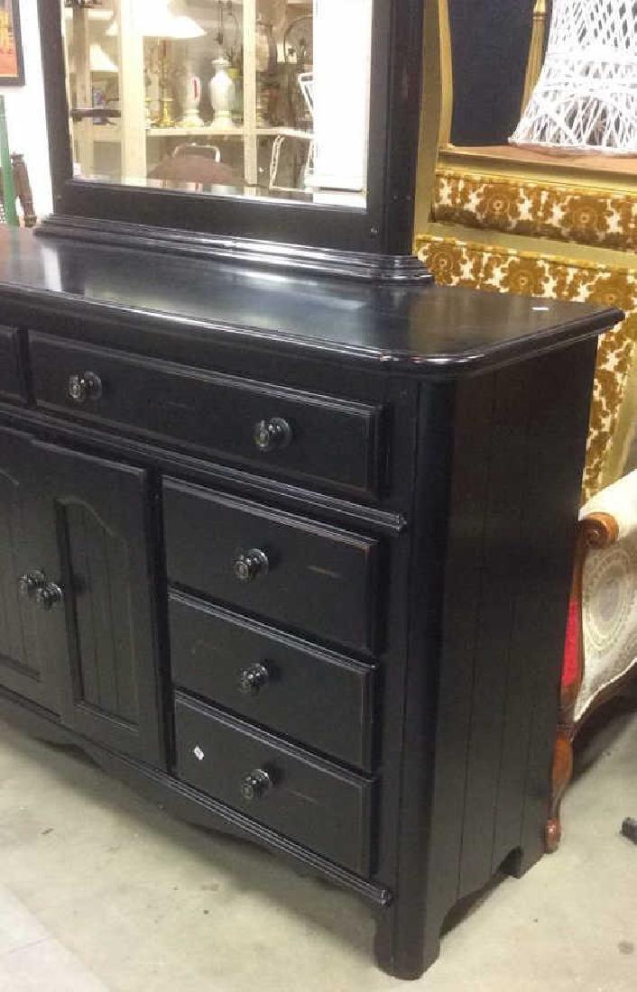 Black Painted Wood Dresser w Mirror - 7