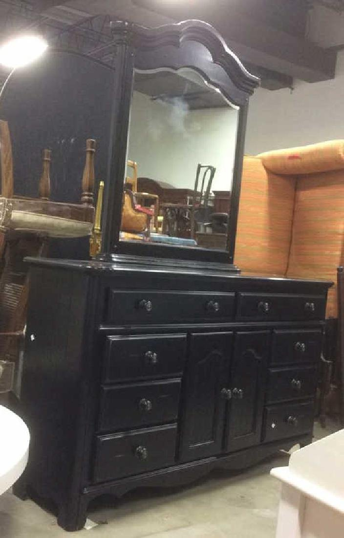 Black Painted Wood Dresser w Mirror - 8