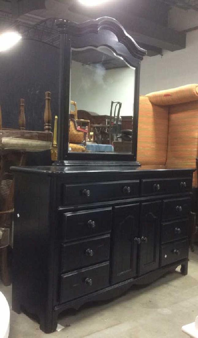 Black Painted Wood Dresser w Mirror - 9