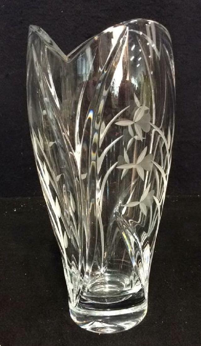 LENOX Crystal Vase W Floral Etched Detailing