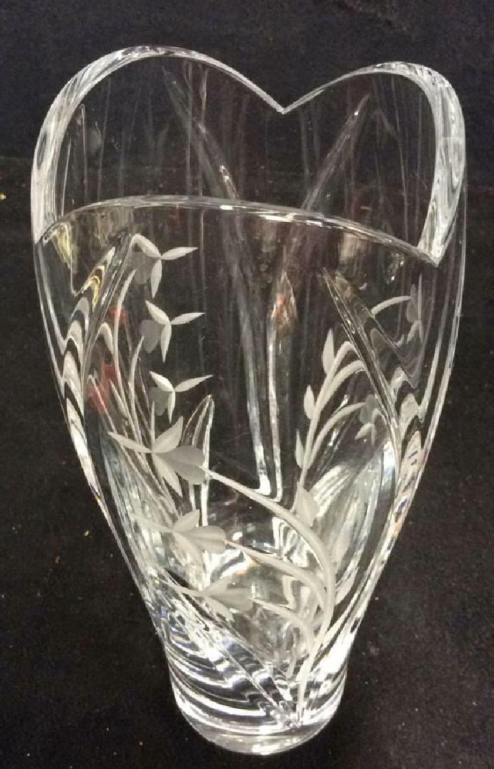 LENOX Crystal Vase W Floral Etched Detailing - 3