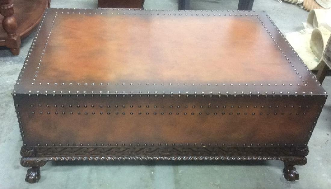 Ralph Lauren Leather and Carved Coffee Table
