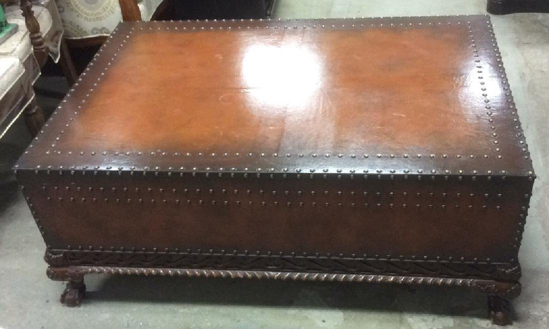 Ralph Lauren Leather and Carved Coffee Table - 3