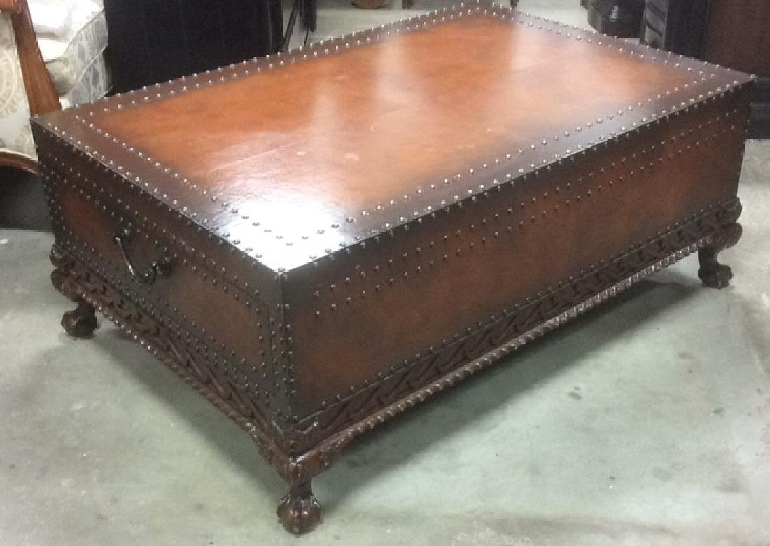 Ralph Lauren Leather and Carved Coffee Table - 5