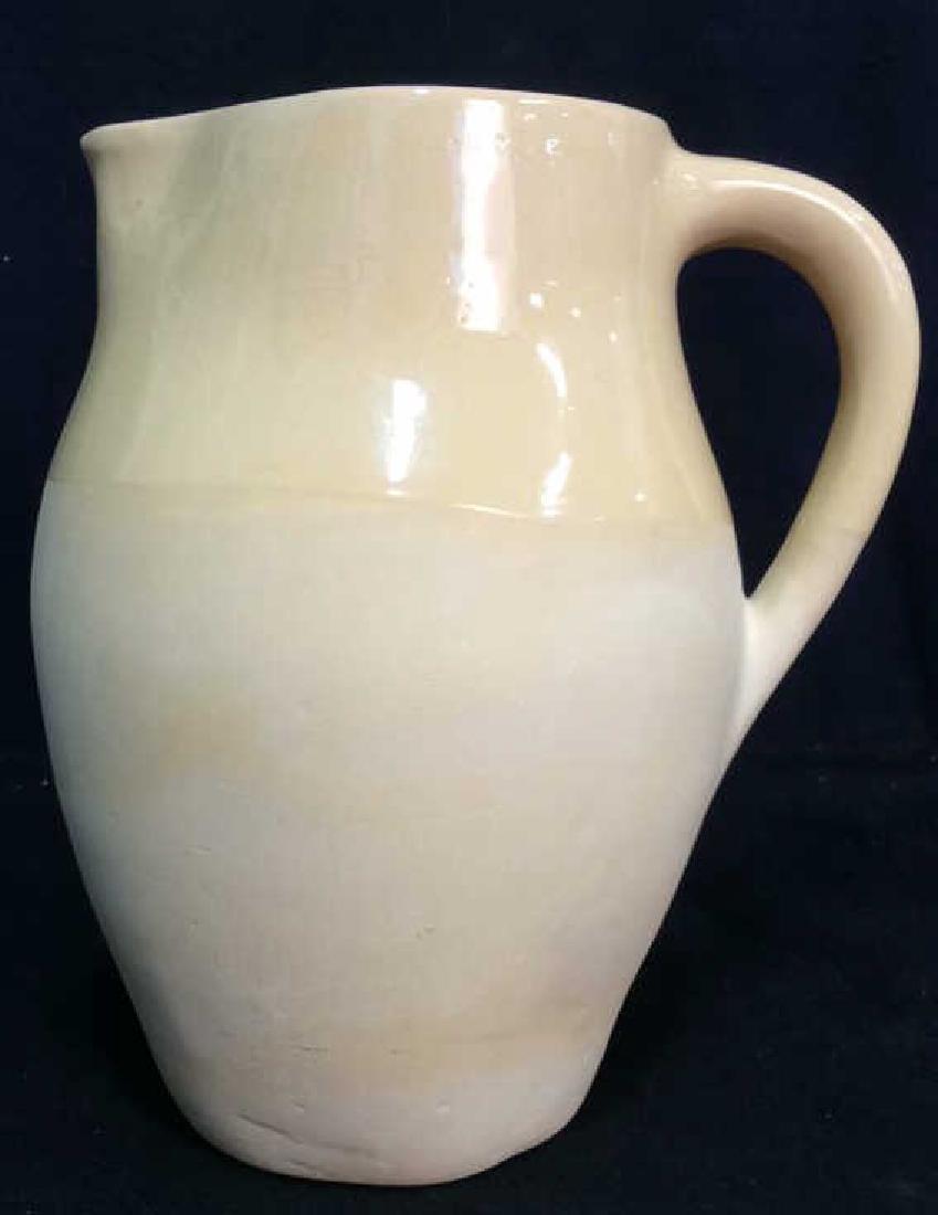 Yellow Ceramic Pitcher W Handle