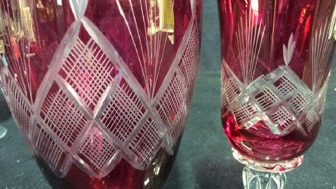 Lot 4 Matching Blown Glass Ruby Vase and Glasses - 10