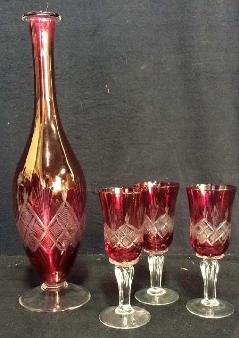 Lot 4 Matching Blown Glass Ruby Vase and Glasses