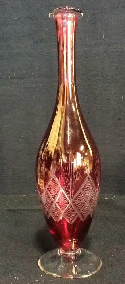 Lot 4 Matching Blown Glass Ruby Vase and Glasses - 2