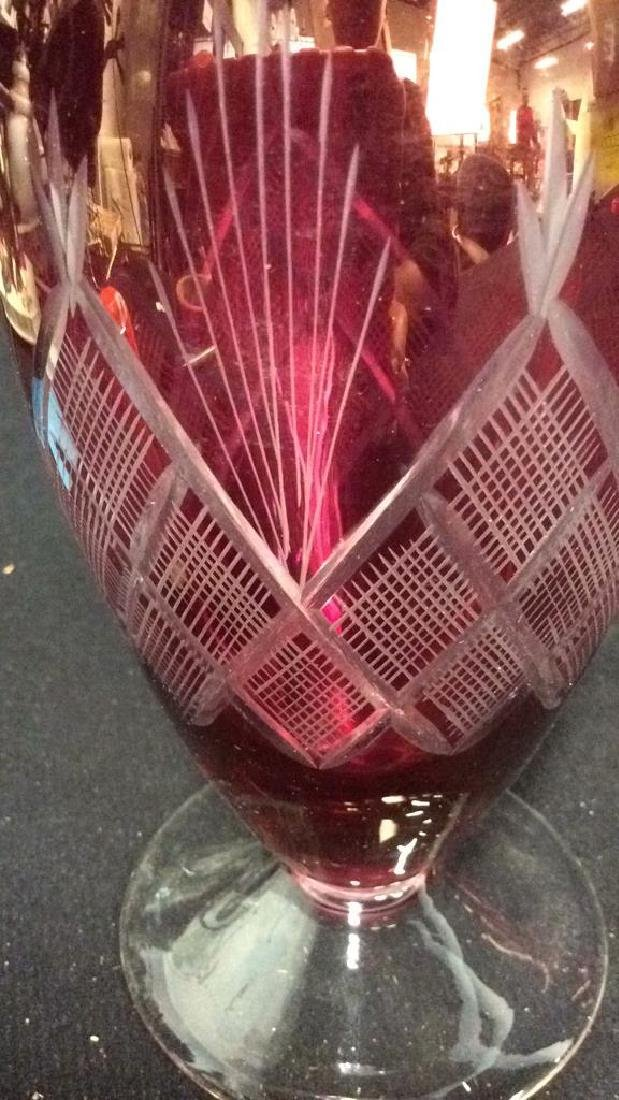 Lot 4 Matching Blown Glass Ruby Vase and Glasses - 3
