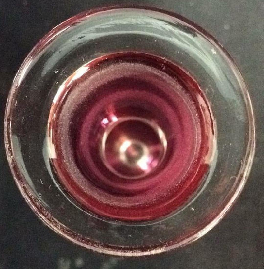Lot 4 Matching Blown Glass Ruby Vase and Glasses - 4