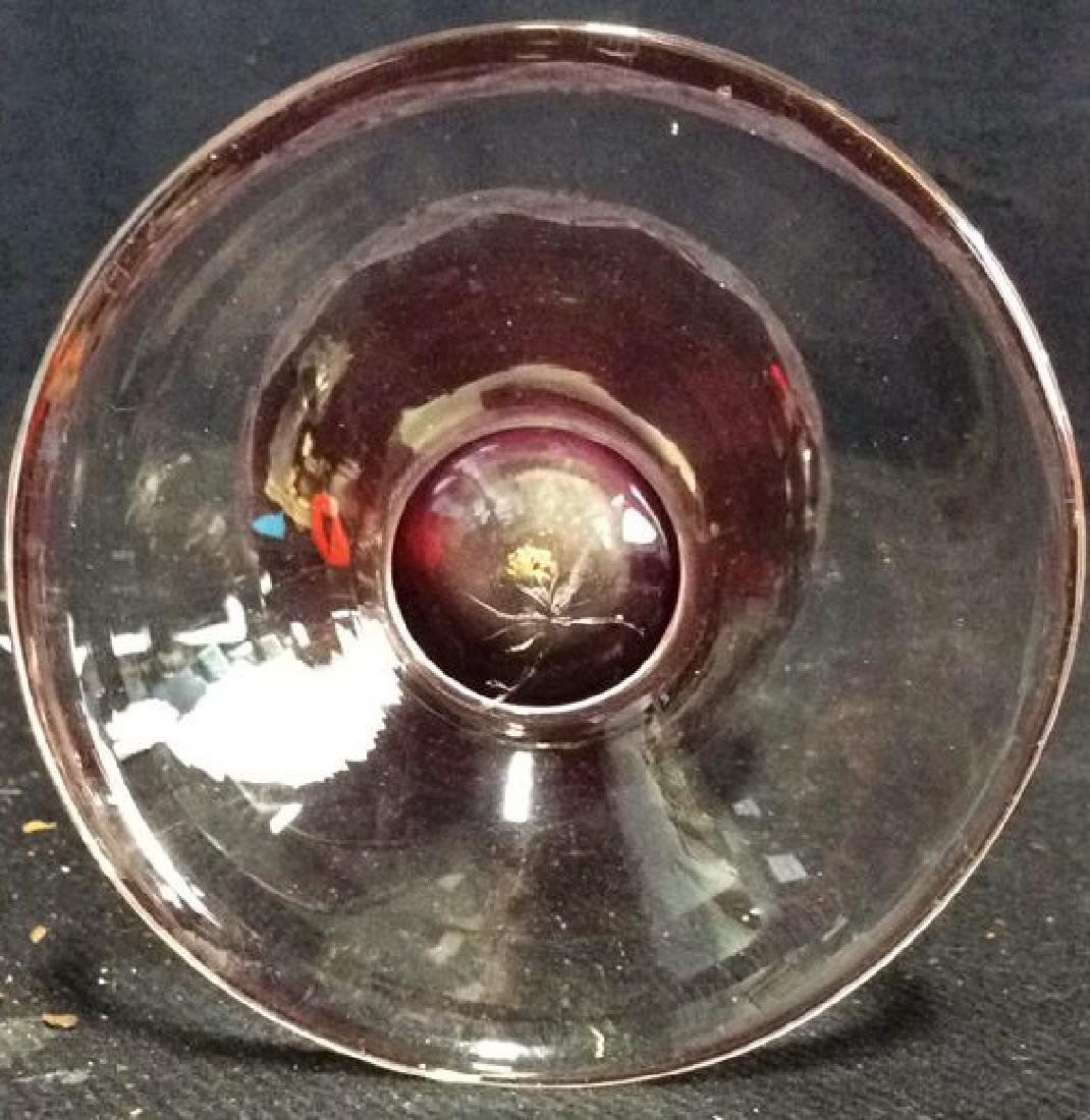 Lot 4 Matching Blown Glass Ruby Vase and Glasses - 5