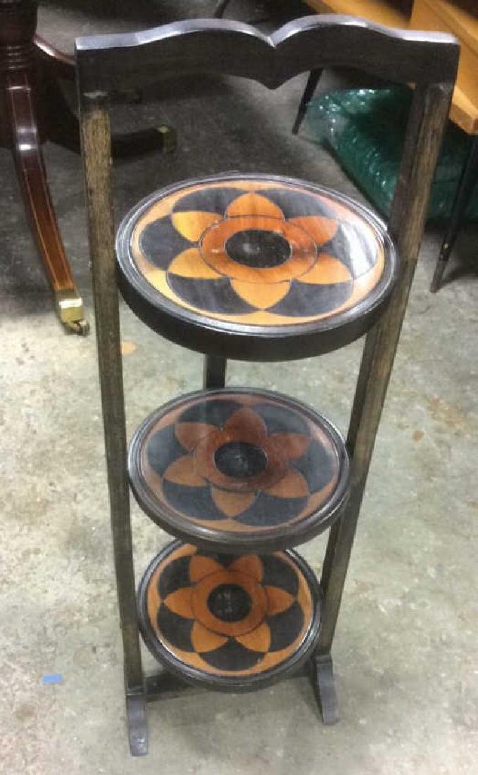 Carved 3 Tier Collapsible Side Table