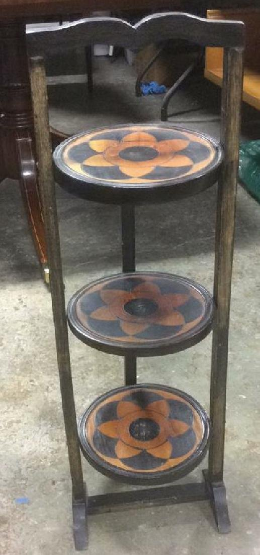 Carved 3 Tier Collapsible Side Table - 2