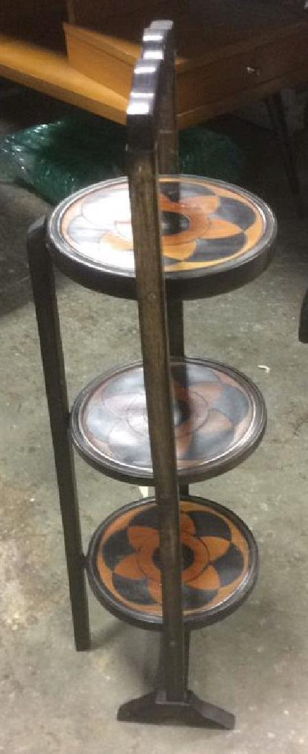 Carved 3 Tier Collapsible Side Table - 3