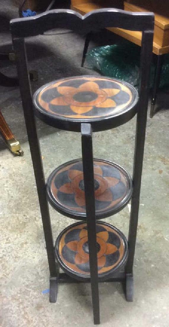 Carved 3 Tier Collapsible Side Table - 4
