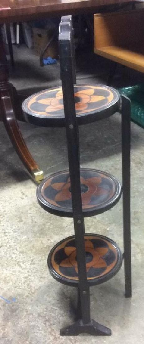 Carved 3 Tier Collapsible Side Table - 5
