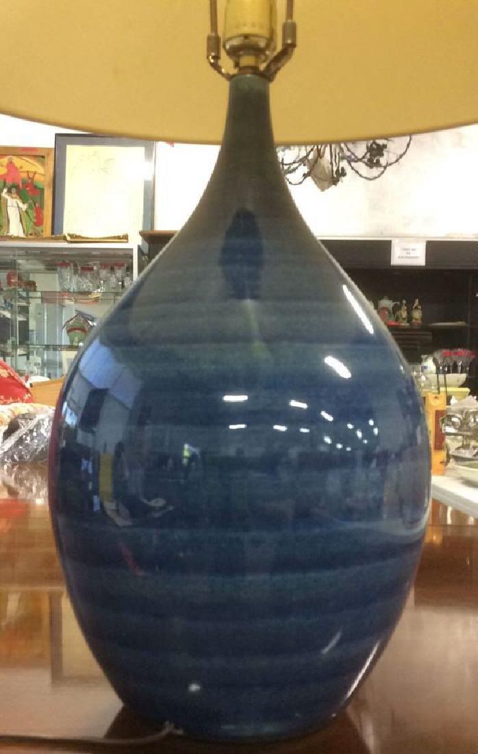 Pottery Barn Blue Ceramic Lamp w Shade