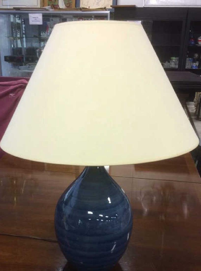 Pottery Barn Blue Ceramic Lamp w Shade - 2