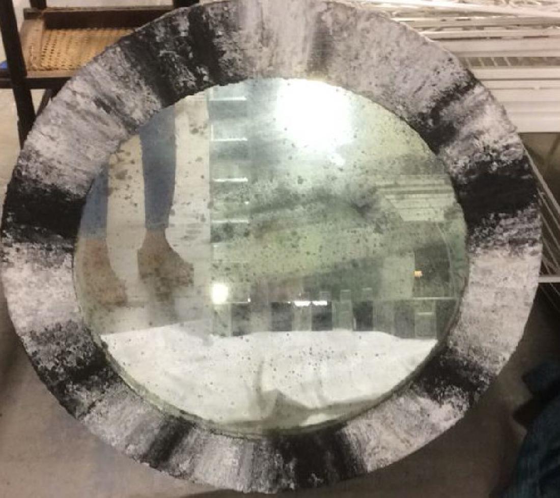 Painted textured Contemporary Round Mirror