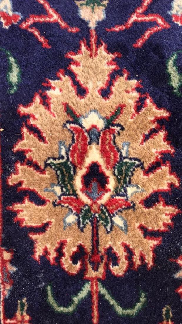 Navy Blue Wool Fringed Rug - 7