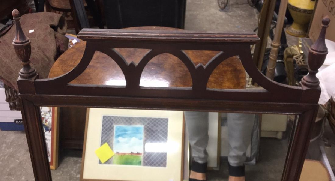 Vintage Wood Wall Mirror - 3