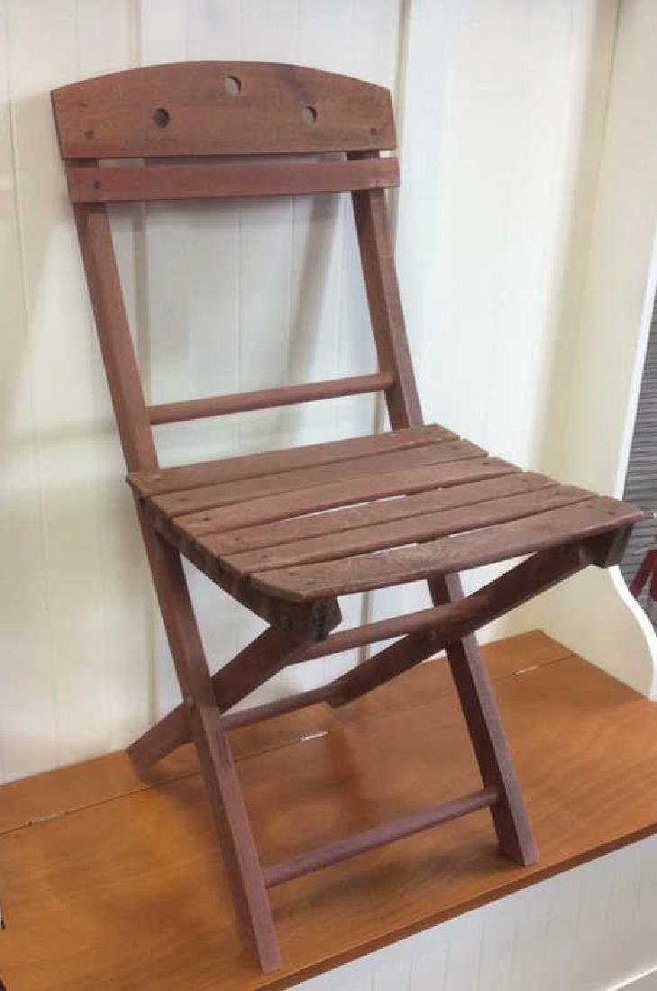 Vintage Red Painted Wood Garden Chair