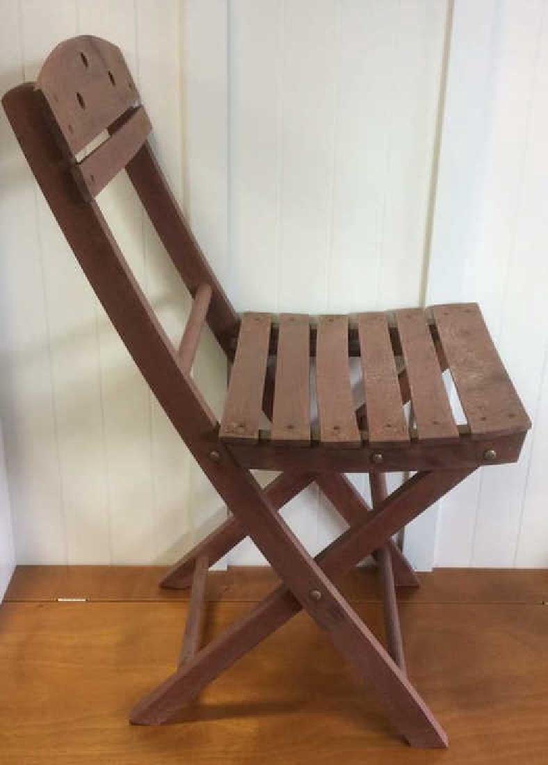 Vintage Red Painted Wood Garden Chair - 2