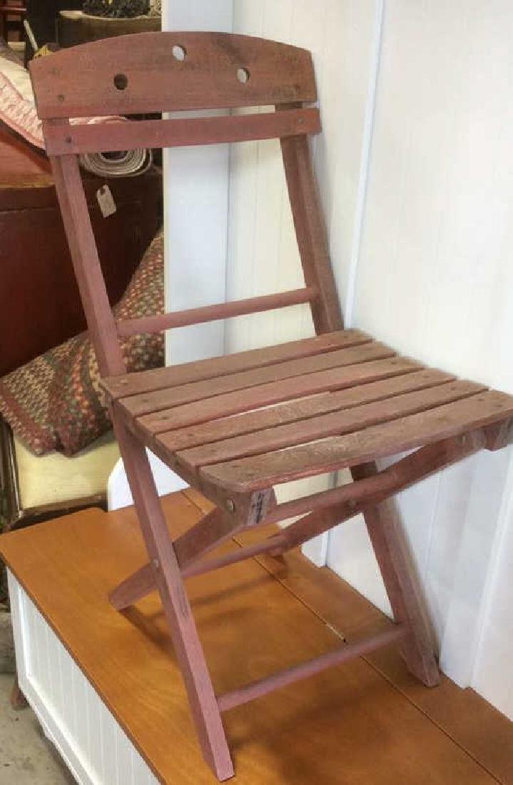 Vintage Red Painted Wood Garden Chair - 3