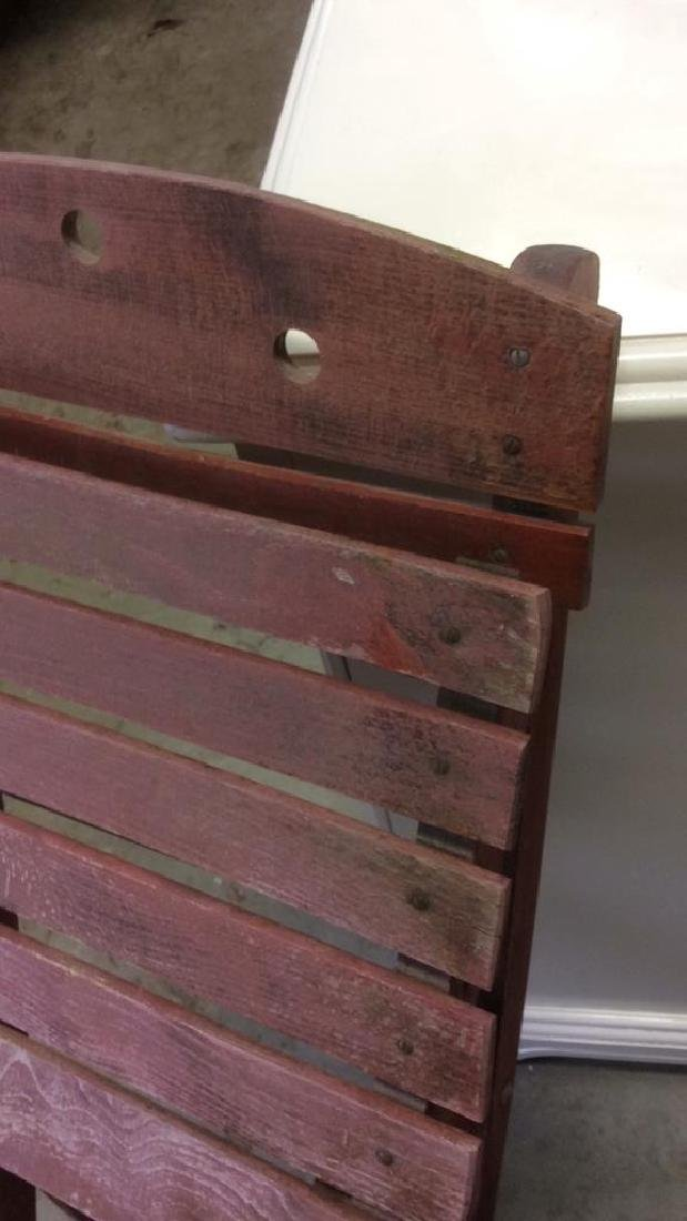 Vintage Red Painted Wood Garden Chair - 6