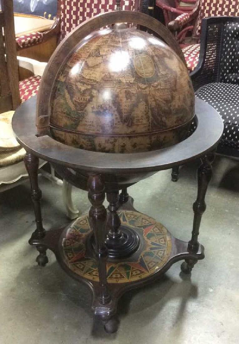 Standing Wood Copper Globe Opens to Bar