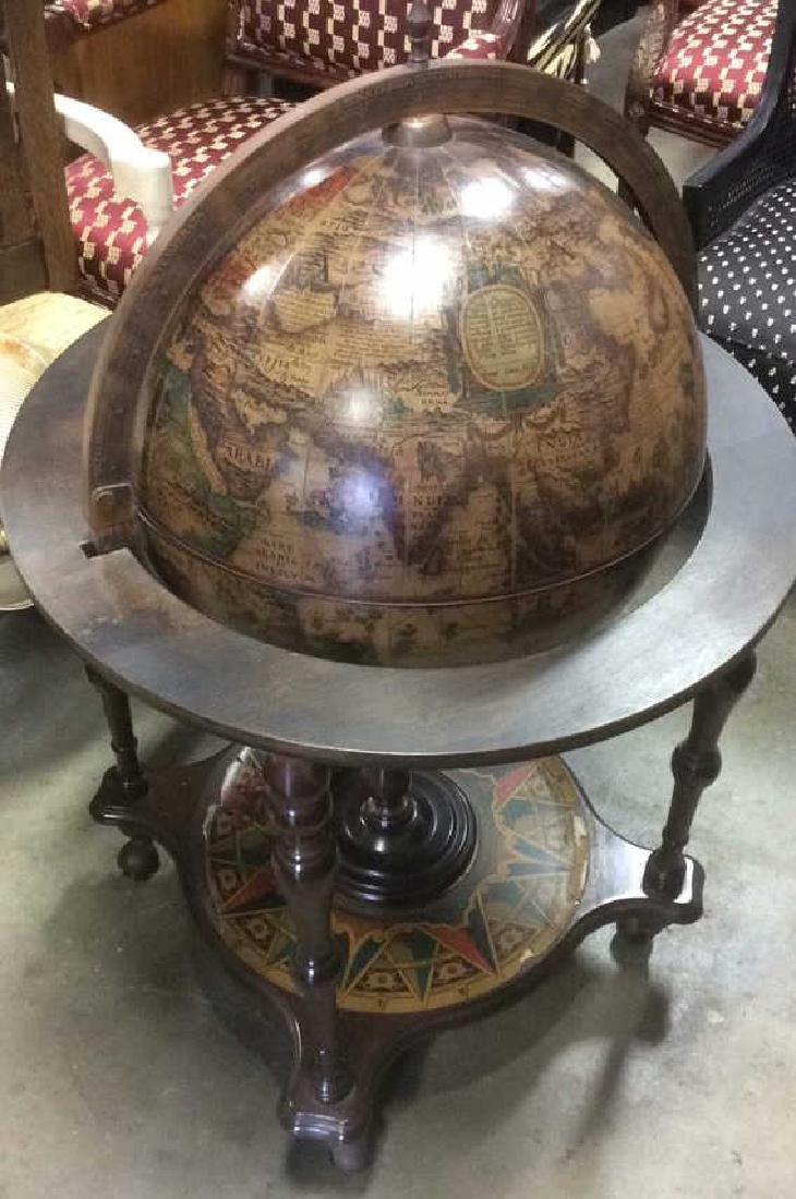Standing Wood Copper Globe Opens to Bar - 2