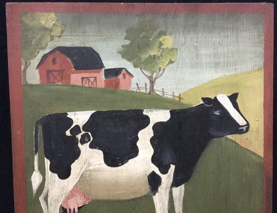 Hand Painted Folk Art Wall Hanging With Cow - 2