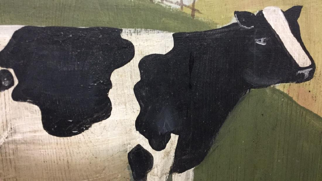 Hand Painted Folk Art Wall Hanging With Cow - 4