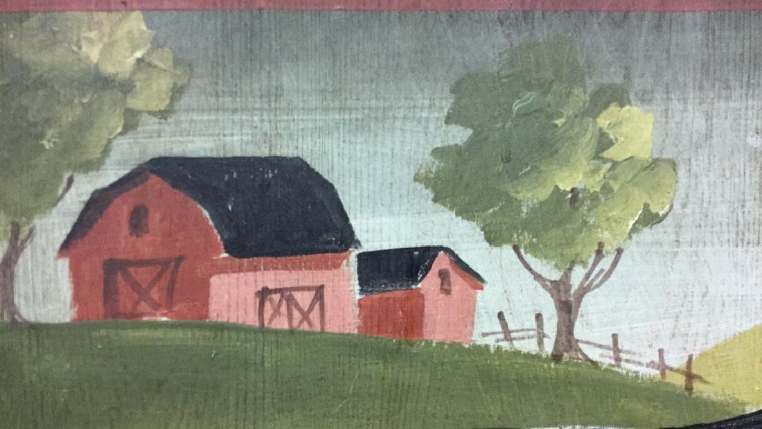 Hand Painted Folk Art Wall Hanging With Cow - 5