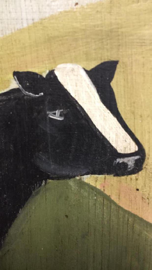 Hand Painted Folk Art Wall Hanging With Cow - 8