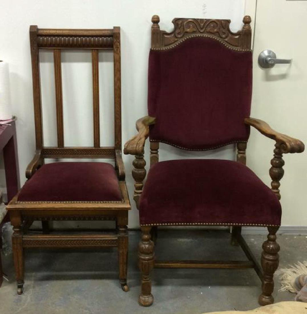 Lot 2 Upholstered Wooden Throne Backed Chairs