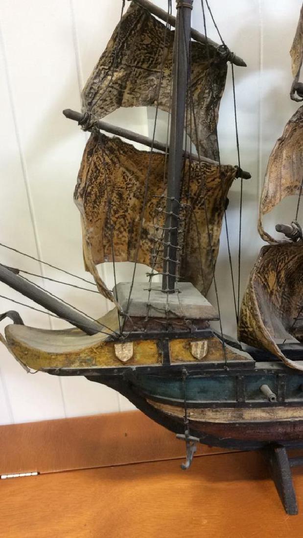 Antique Carved Painted Wood Sailing Sloop - 10