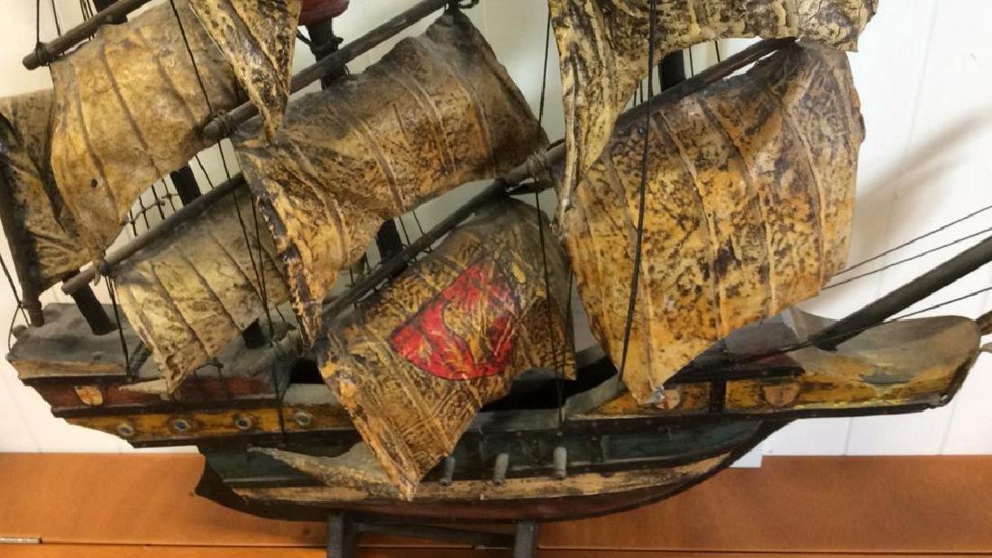 Antique Carved Painted Wood Sailing Sloop